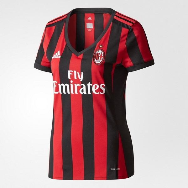 Magasin Foot adidas Domicile Maillots Femme AC Milan 2017 2018 Rouge Noir