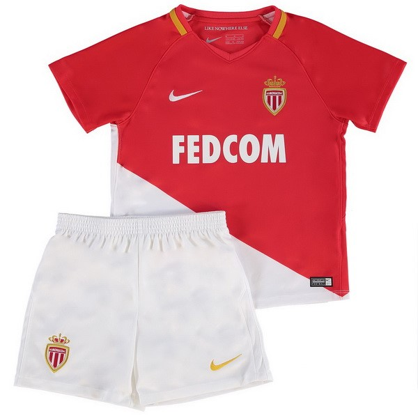 Magasin Foot Nike Domicile Ensemble Enfant AS Monaco 2017 2018 Blanc Rouge