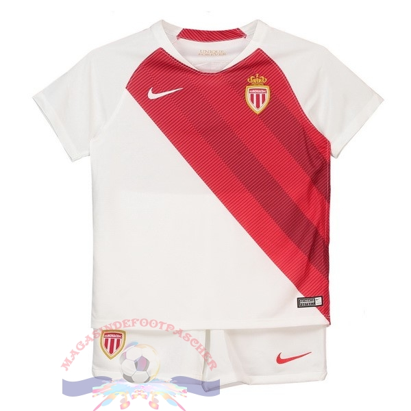 Magasin Foot Nike Domicile Ensemble Enfant AS Monaco 2018-2019 Blanc Rouge