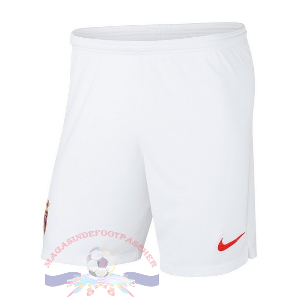 Magasin Foot Nike Domicile Shorts AS Monaco 2018-2019 Blanc