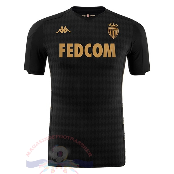Magasin Foot Kappa Exterieur Maillot AS Monaco 2019 2020 Noir