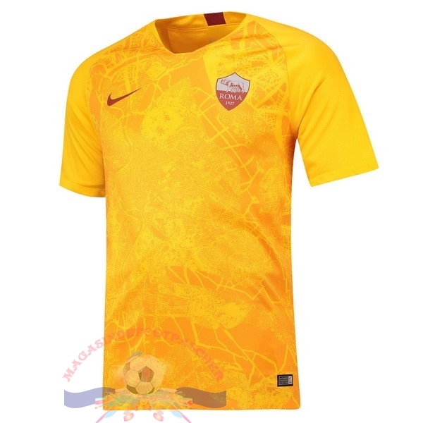 Magasin Foot Nike Third Maillots As Roma 2018-2019 Jaune