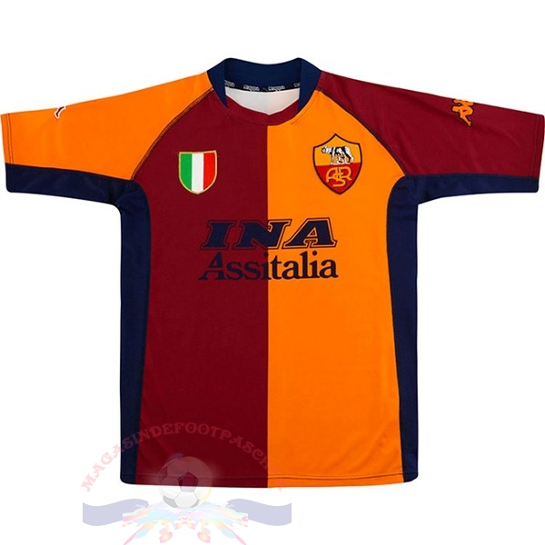 Magasin Foot Kappa Domicile Maillot As Roma Retro 2001 2002 Orange