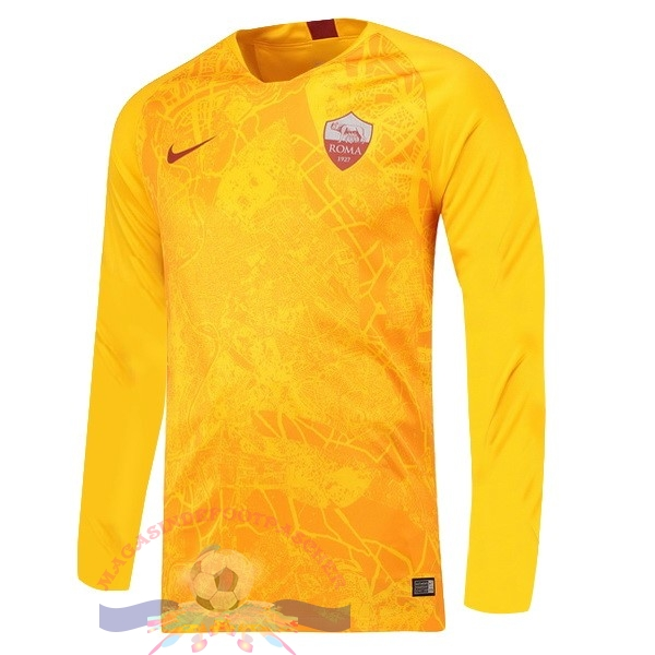Magasin Foot Nike Third Manches Longues As Roma 18-19 Jaune