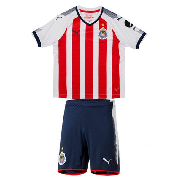 Magasin Foot PUMA Domicile Ensemble Enfant CD Guadalajara 2017 2018 Blanc Rouge