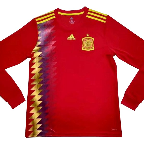 Magasin Foot adidas Domicile Manches Longues Espagne 2018 Rouge