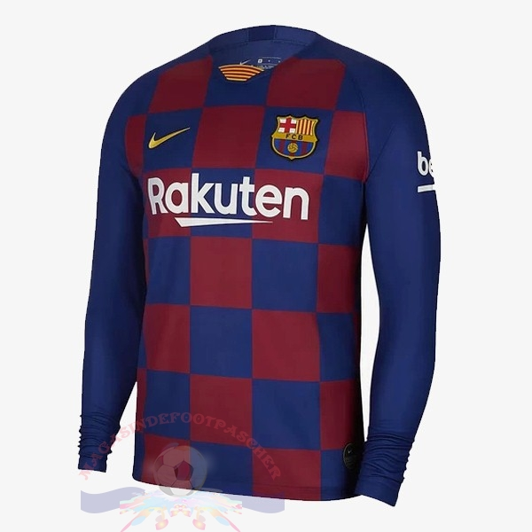 Magasin Foot Nike Domicile Maillot Manches Longues Barcelona 2019 2020 Rouge Bleu