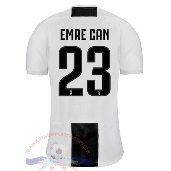 Magasin Foot adidas NO.23 Emre Can Domicile Maillots Juventus 18-19 Blanc Noir