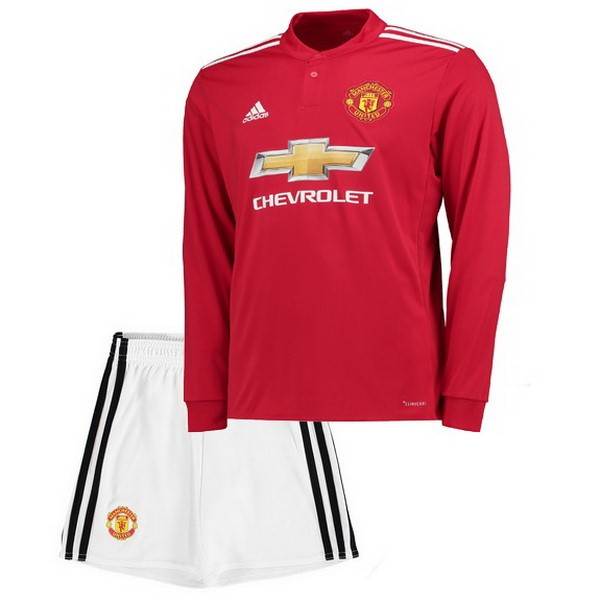 Magasin Foot adidas Domicile Maillots Manches Longues Enfant Manchester United 2017 2018 Blanc Rouge