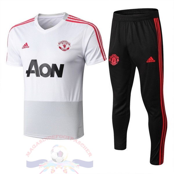 Magasin Foot adidas Entrainement Ensemble Manchester United 2018 2019 Blanc Rouge