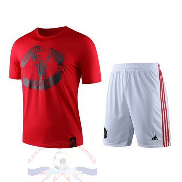 Magasin Foot Adidas Entrainement Ensemble Manchester United 2019 2020 Rouge Blanc