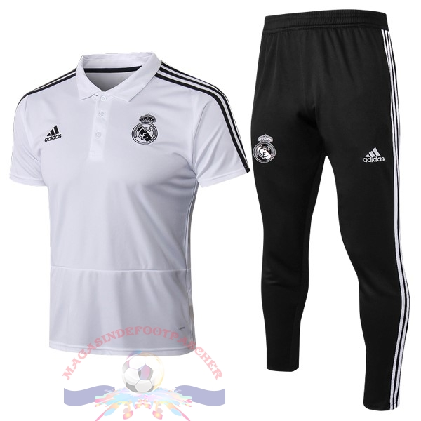 Magasin Foot adidas Ensemble Polo Real Madrid 2018-2019 Blanc
