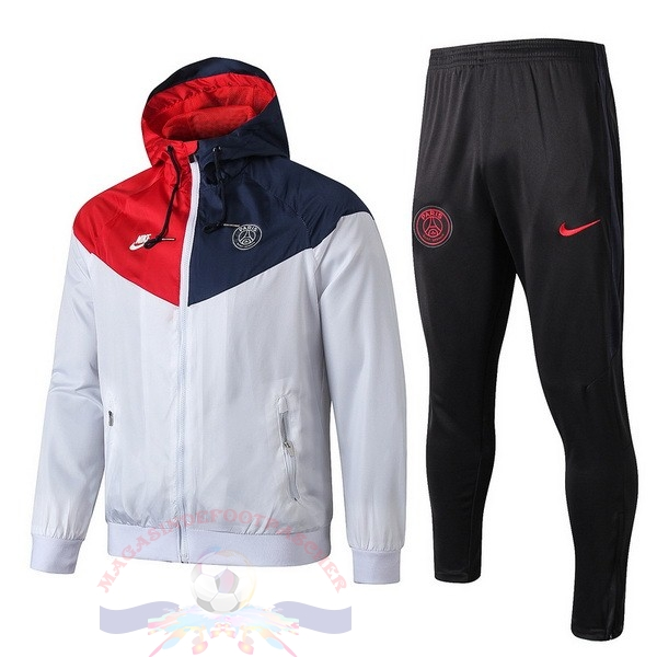Magasin Foot Nike Ensemble Coupe Vent Paris Saint Germain 2019 2020 Rouge Bleu Gris