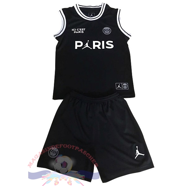 Magasin Foot JORDAN Conjunto De Maillots Sans Manches Enfant Paris Saint Germain 2018-2019 Noir