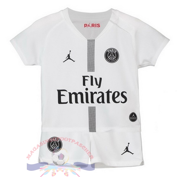 Magasin Foot JORDAN Third Exterieur Ensemble Enfant Paris Saint Germain 2018-2019 Blanc