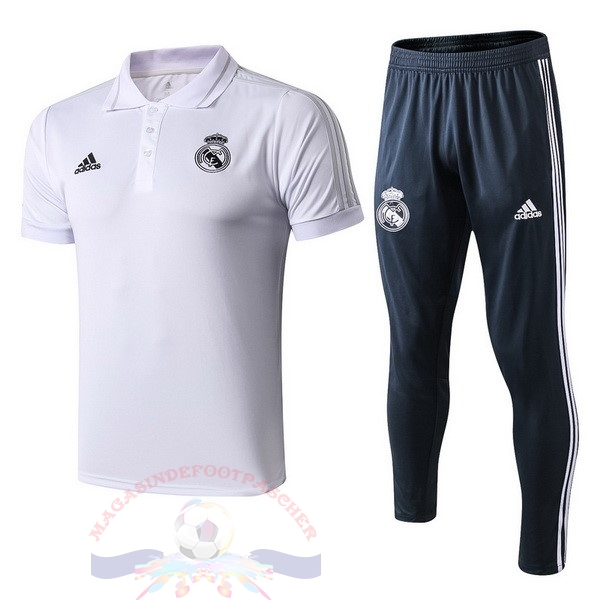 Magasin Foot adidas Ensemble Polo Real Madrid 2018 2019 Blanc Bleu