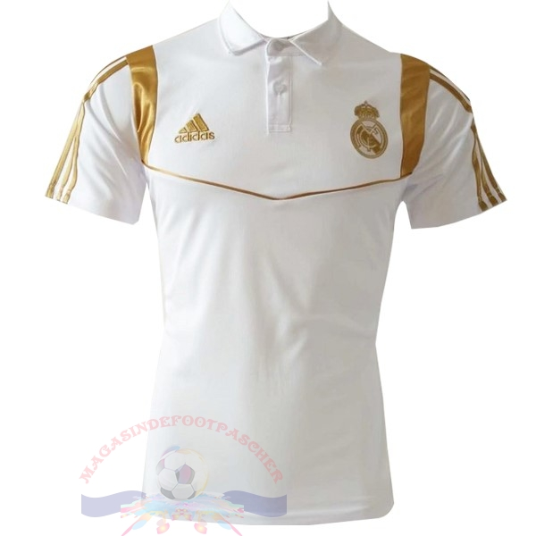 Magasin Foot adidas Polo Real Madrid 2019 2020 Blanc Or