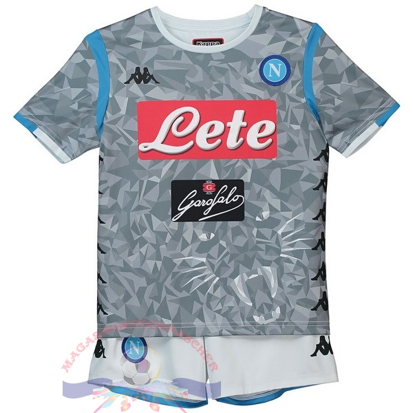 Magasin Foot Kappa Third Ensemble Enfant Naples 2018-2019 Gris