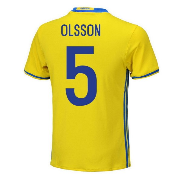 Magasin Foot adidas NO.5 Olsson Domicile Maillots Sweden 2018 Jaune