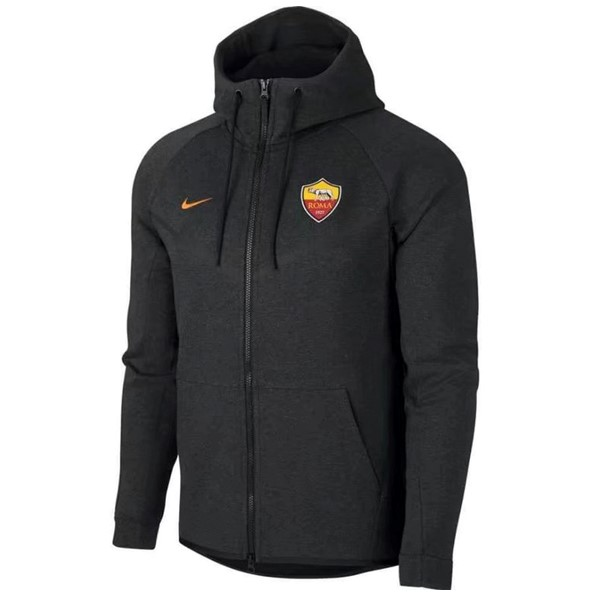 Magasin Foot Nike Sweat Shirt Capuche AS Roma 2017 2018 Gris Marine